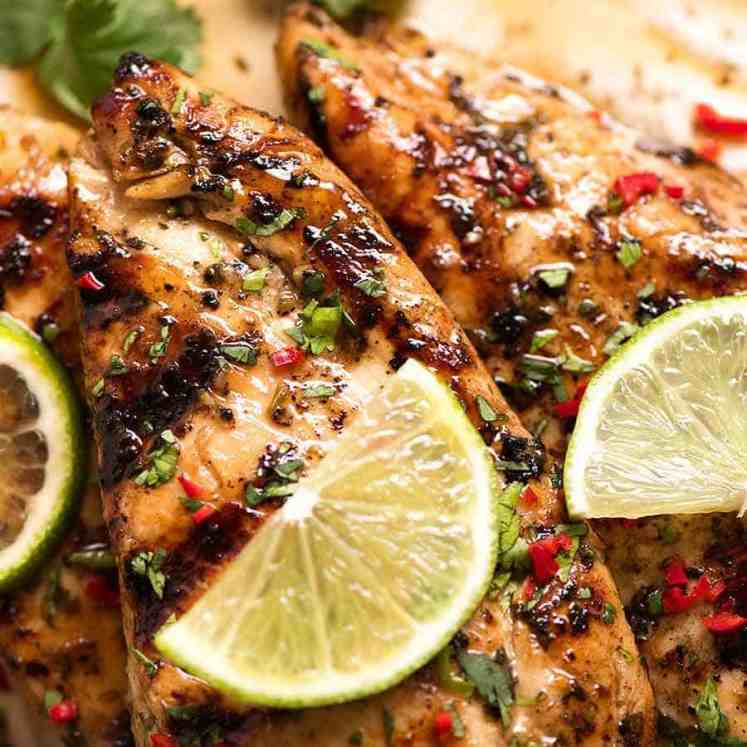 Grilled Marinated Lime Chicken on a plate, ready to be eaten
