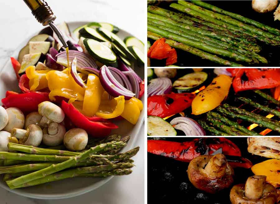Making marinated Grilled Vegetables