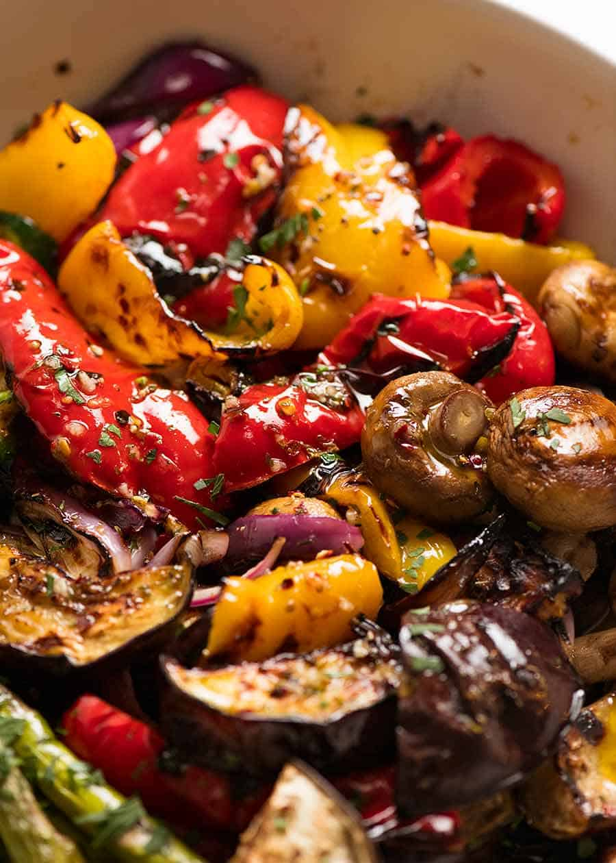 Close up photo of juicy, charred, tender crisp Marinated BBQ Vegetables