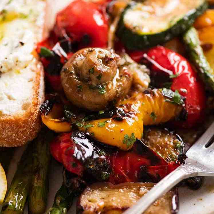 Close up of Marinated Grilled Vegetables