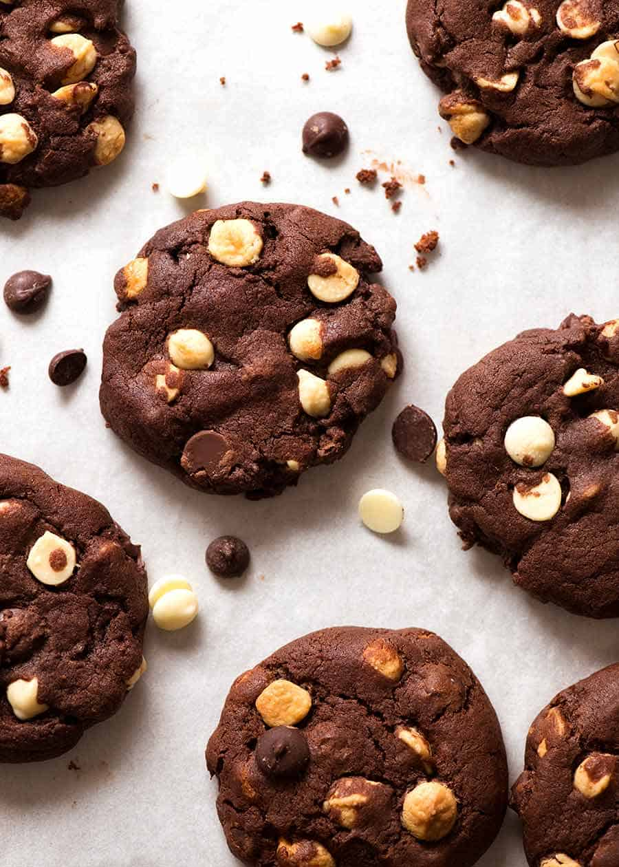 Overhead photo of Triple Chocolate Cookies on a cookie sheet - filled with 40% chocolate!