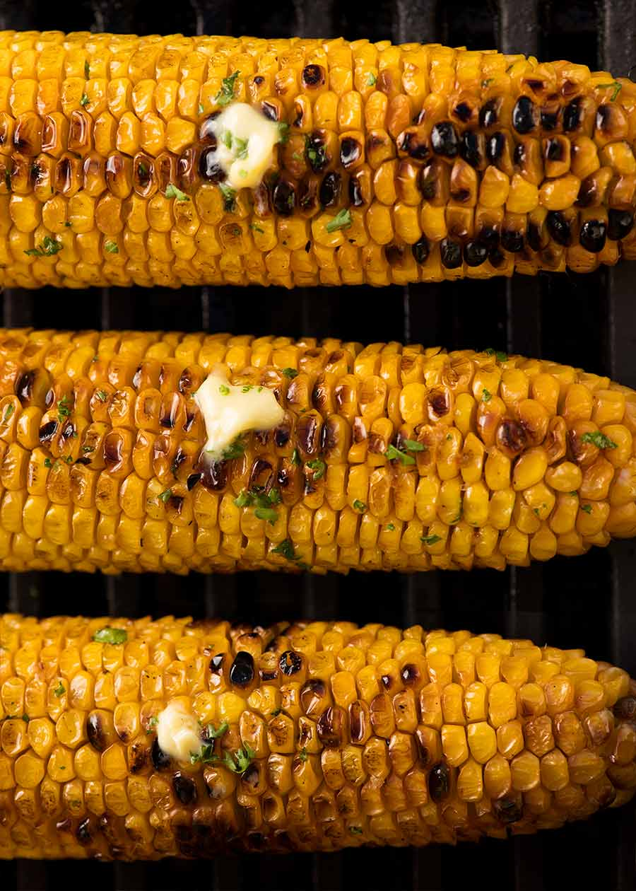 Overhead photo of Grilled Corn on the BBQ