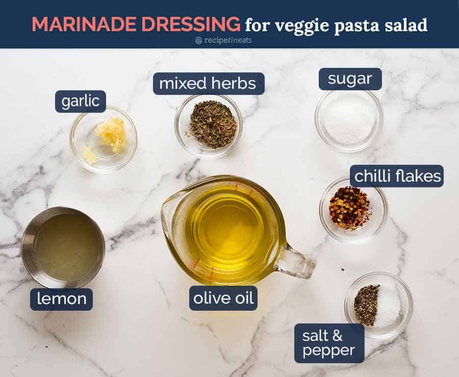 Ingredients for vegetable marinade