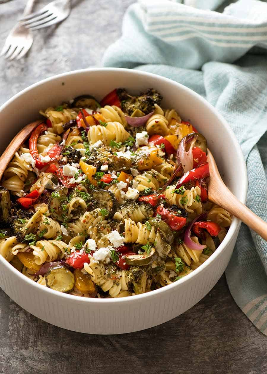 Vegetarian Pasta Salad recipe in a large white bowl, ready to be served