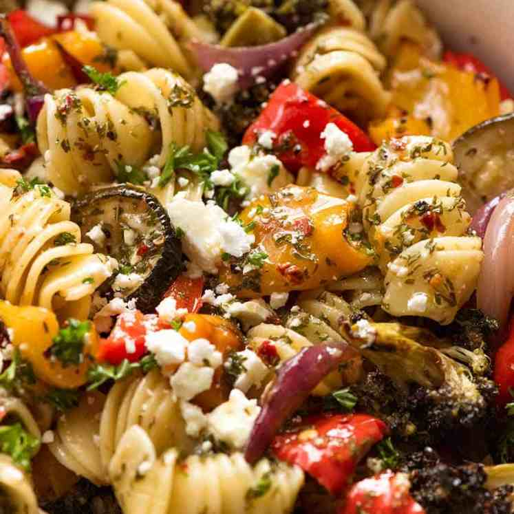 Close up of Amazing Vegetarian Pasta Salad