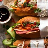 Overhead photo of Banh Mi (Vietnamese Sandwich Baguette)