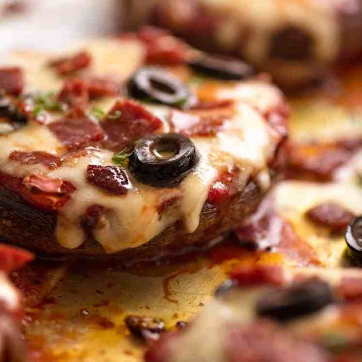 Close up photo of Pizza Stuffed Mushrooms