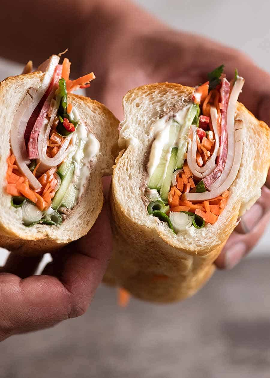 Showing the inside of Vietnamese Sandwich Baguette
