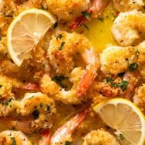 Close up overhead photo of Baked Shrimp with Lemon Garlic Butter Sauce