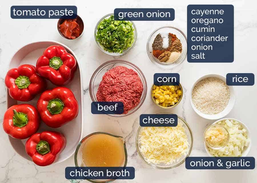Ingredients in Mexican Stuffed Peppers