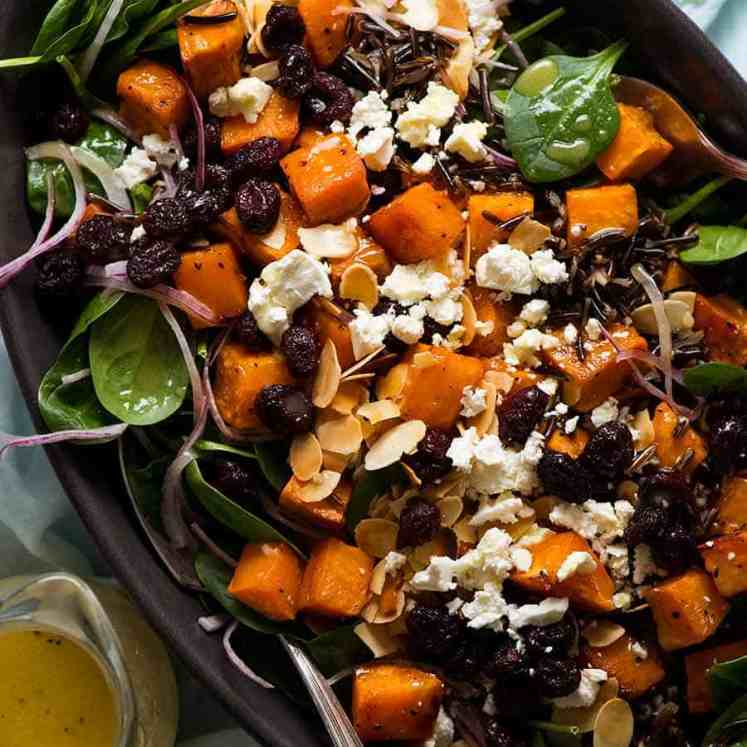 Overhead photo of Sweet Potato Salad with Honey Lemon Dressing, ready to be served