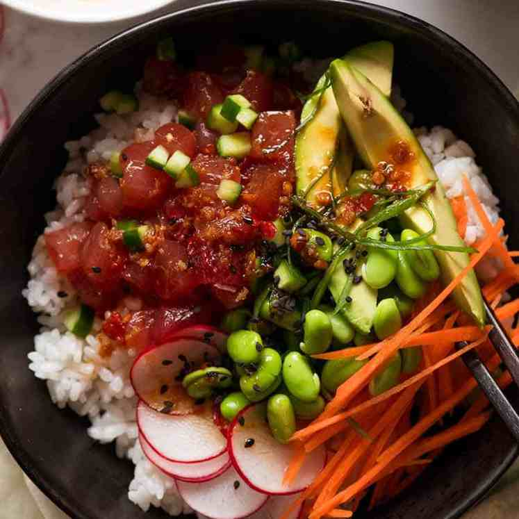 Close up overhead photo of Poke Bowl recipe