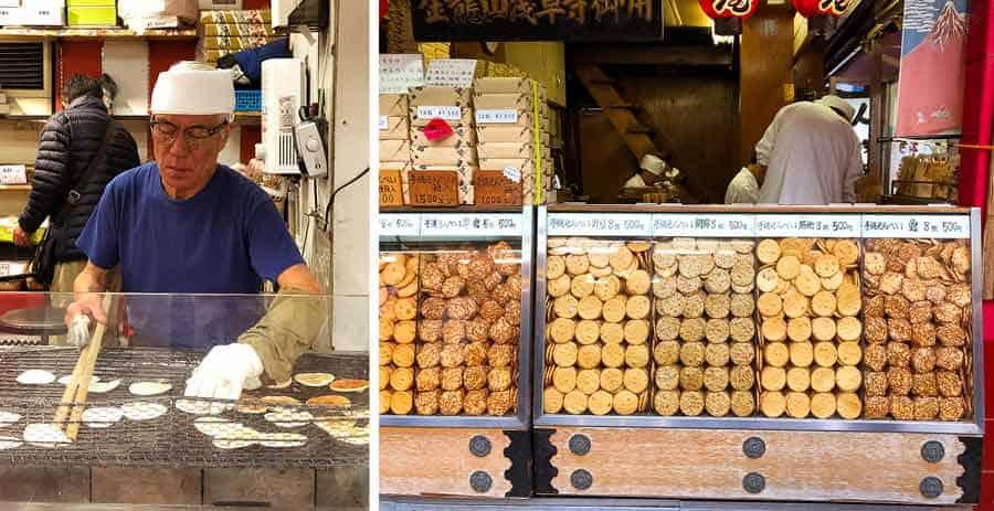 Asakusa making Japanese rice crackers Osembe