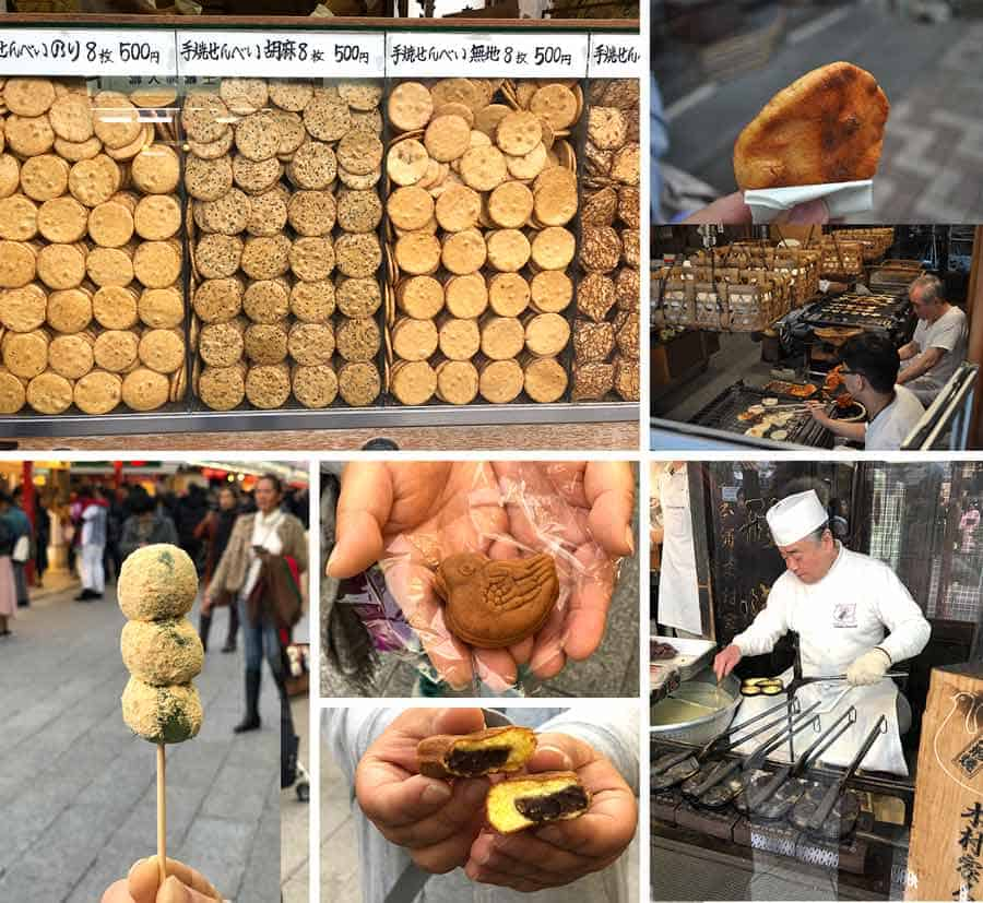 Asakusa Japanese street food snacks