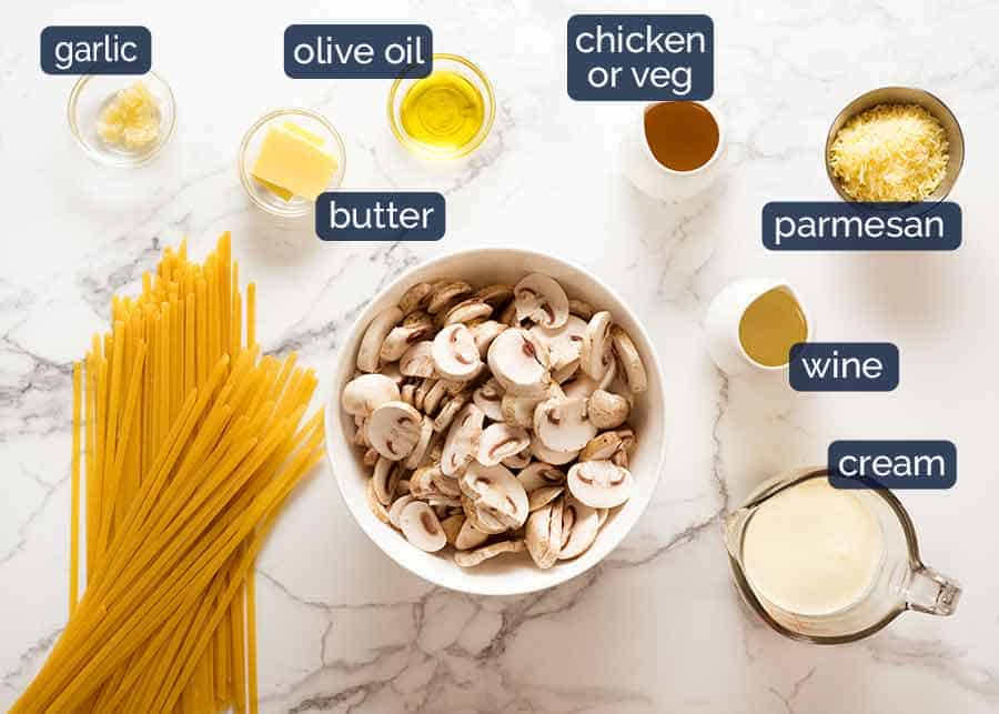Creamy Mushroom Pasta ingredients