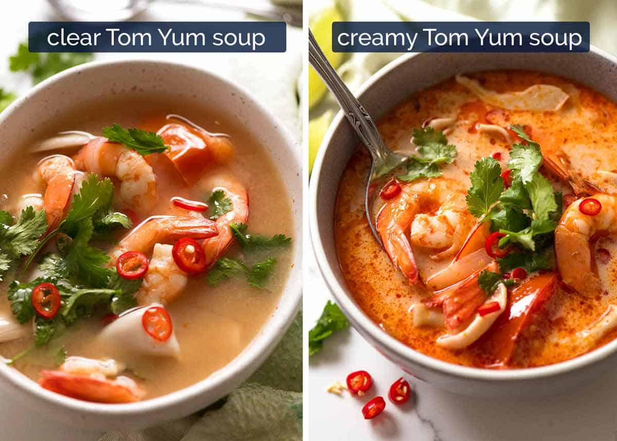 Two types of Tom Yum Soup - clear and creamy