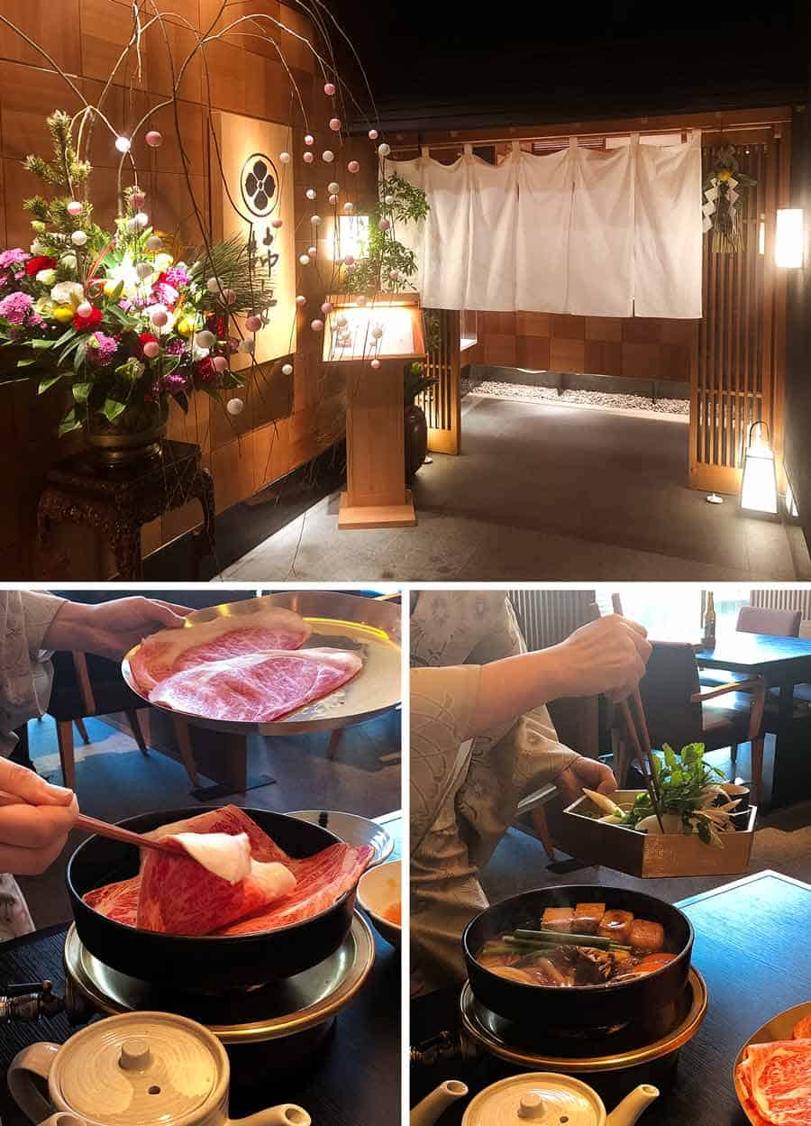 Kakiyasu - Sukiyaki served by the waitress and the outside photo of the restaurant.
