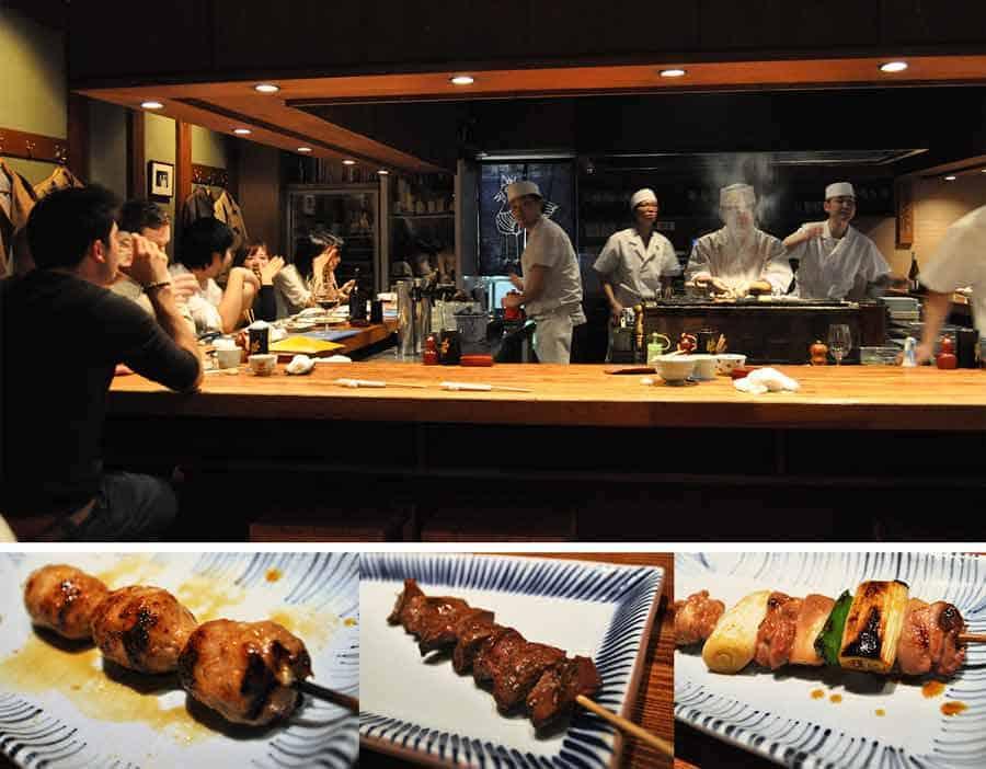 Birdland yakitori restaurant Ginza Tokyo - inside the restaurant and two dishes.