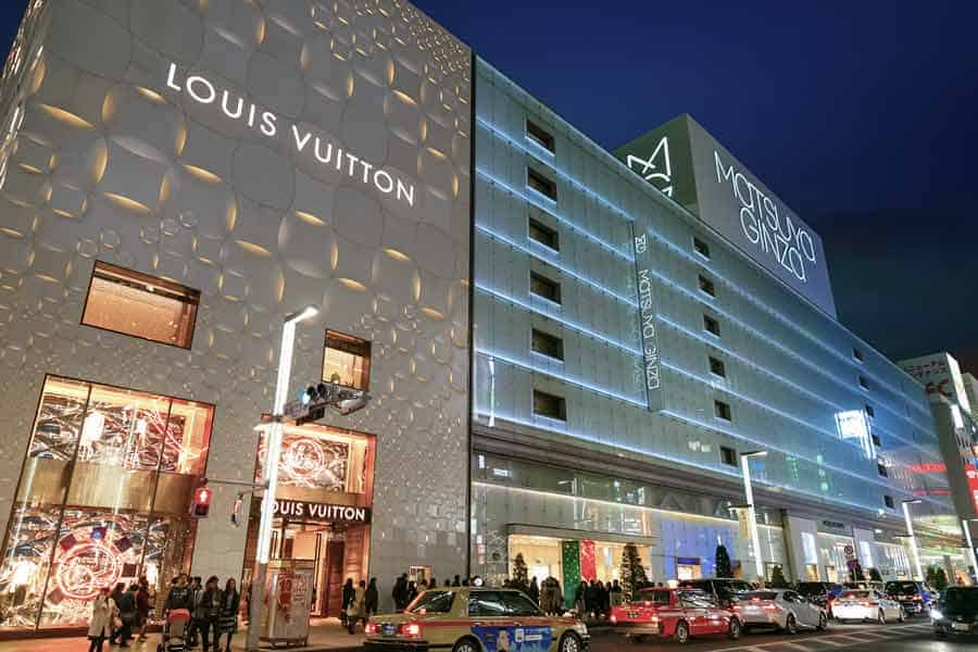 Ginza luxury brand stores