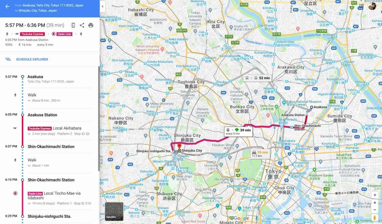 Google Maps Tokyo Train example
