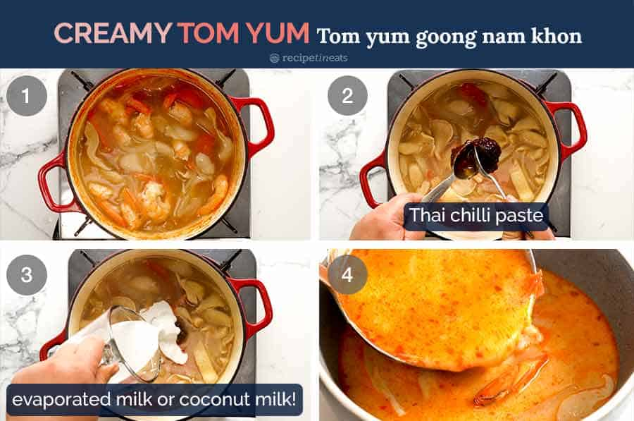 Process steps for how to make creamy Tom Yum Soup