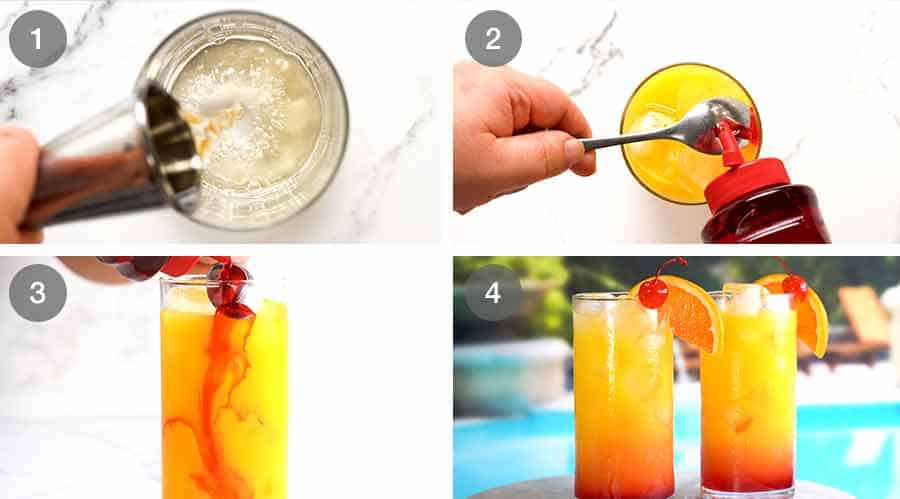 Process steps for how to make Tequila Sunrise cocktail drink