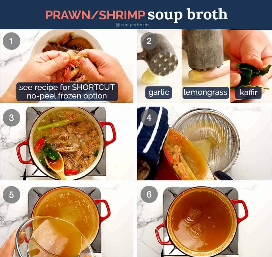 Process steps illustrating how to make the broth for Thai Tom Yum Soup