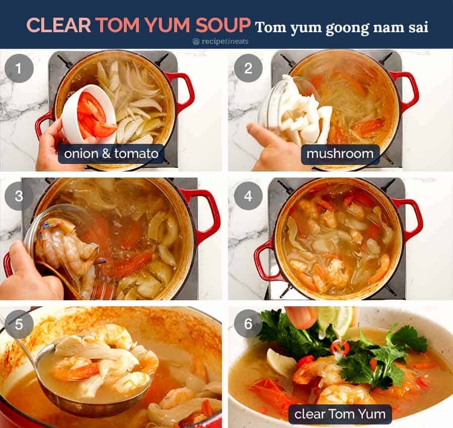 Process steps for how to make Thai Tom Yum Soup