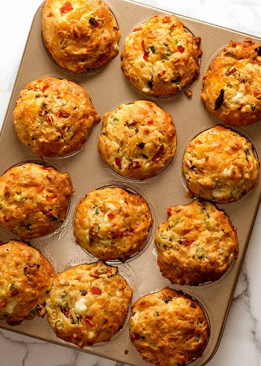 Mediterranean Savoury Muffins - with olives, sun dried tomatoes, feta and roasted peppers