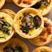 Overhead photo of mini quiches, ready to be eaten