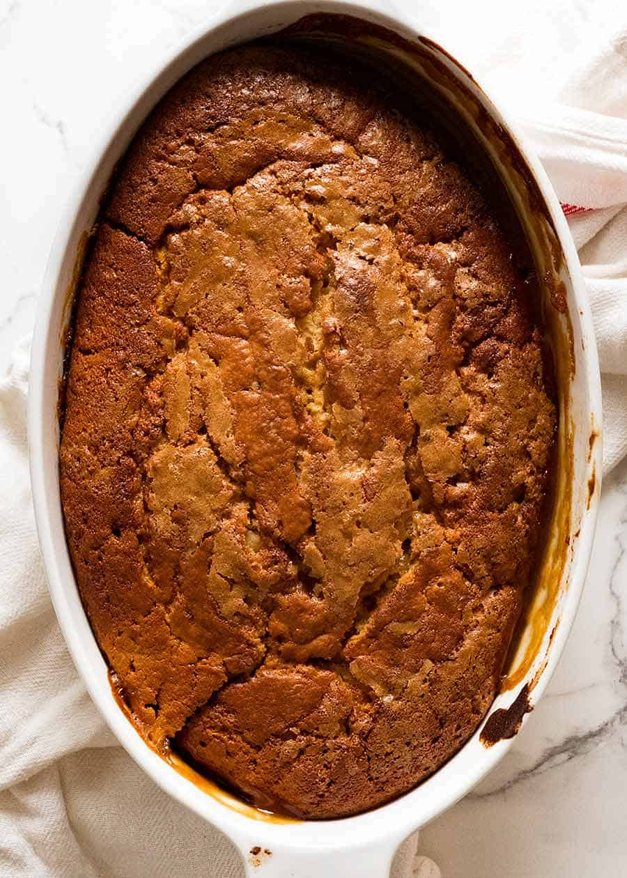 Overhead photo of Self Saucing Butterscotch Pudding, fresh out of the oven