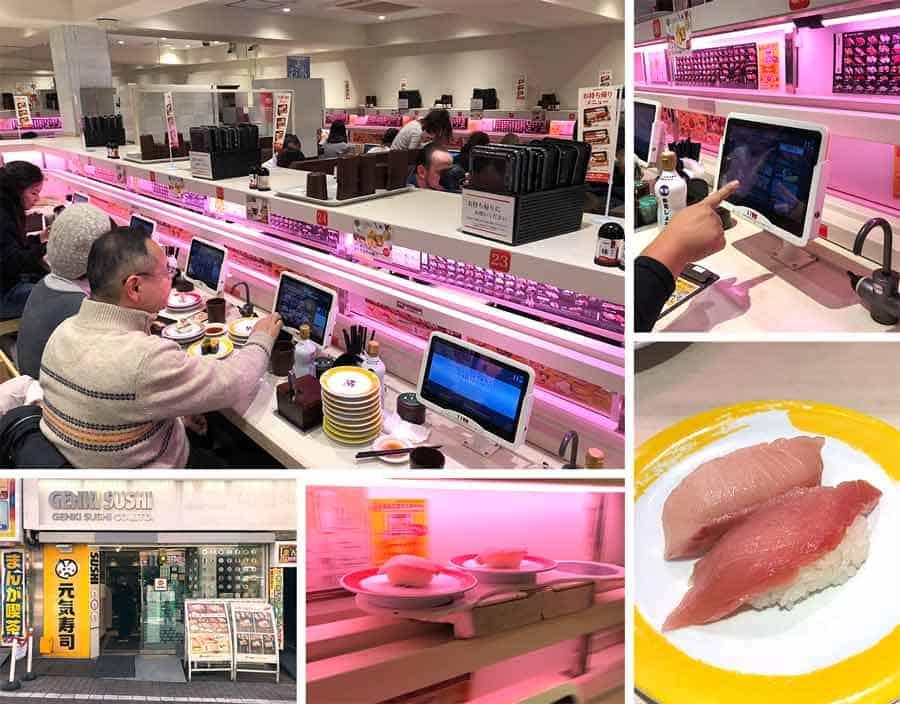 Shibuya Genki Sushi train computer ordering