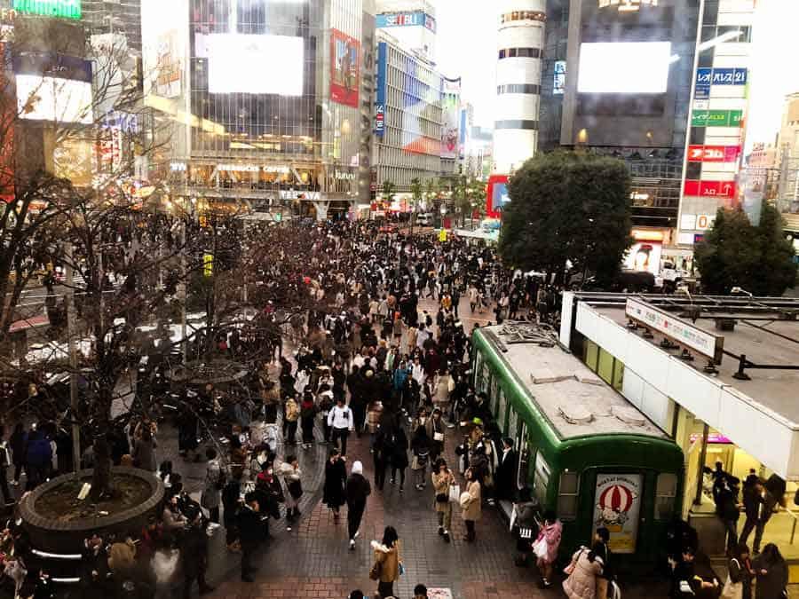 Shibuya famous busy intersection