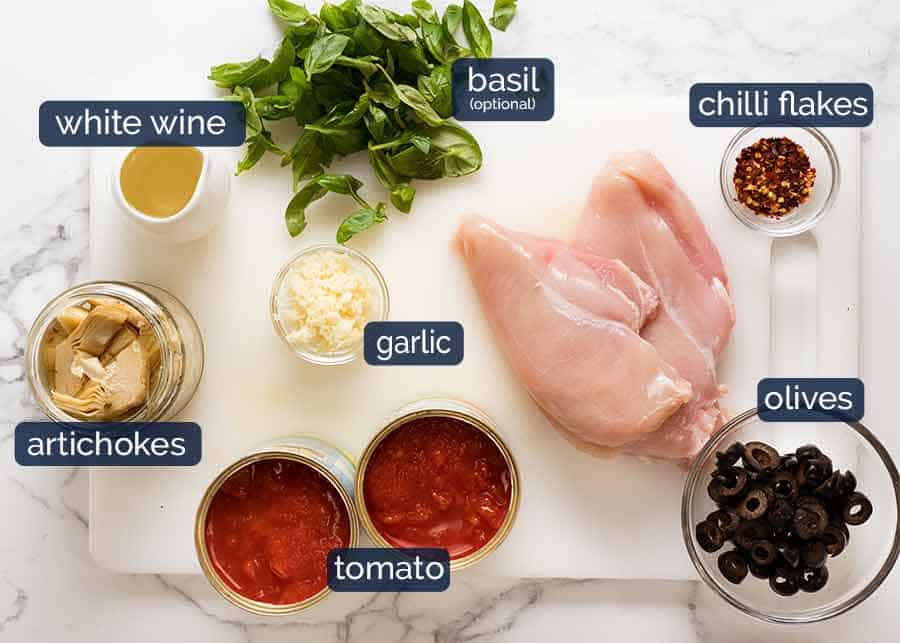 Sicilian chicken pasta ingredients