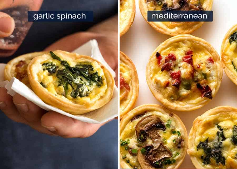 Garlic Spinach and Mediterranean Mini Quiche - finger food
