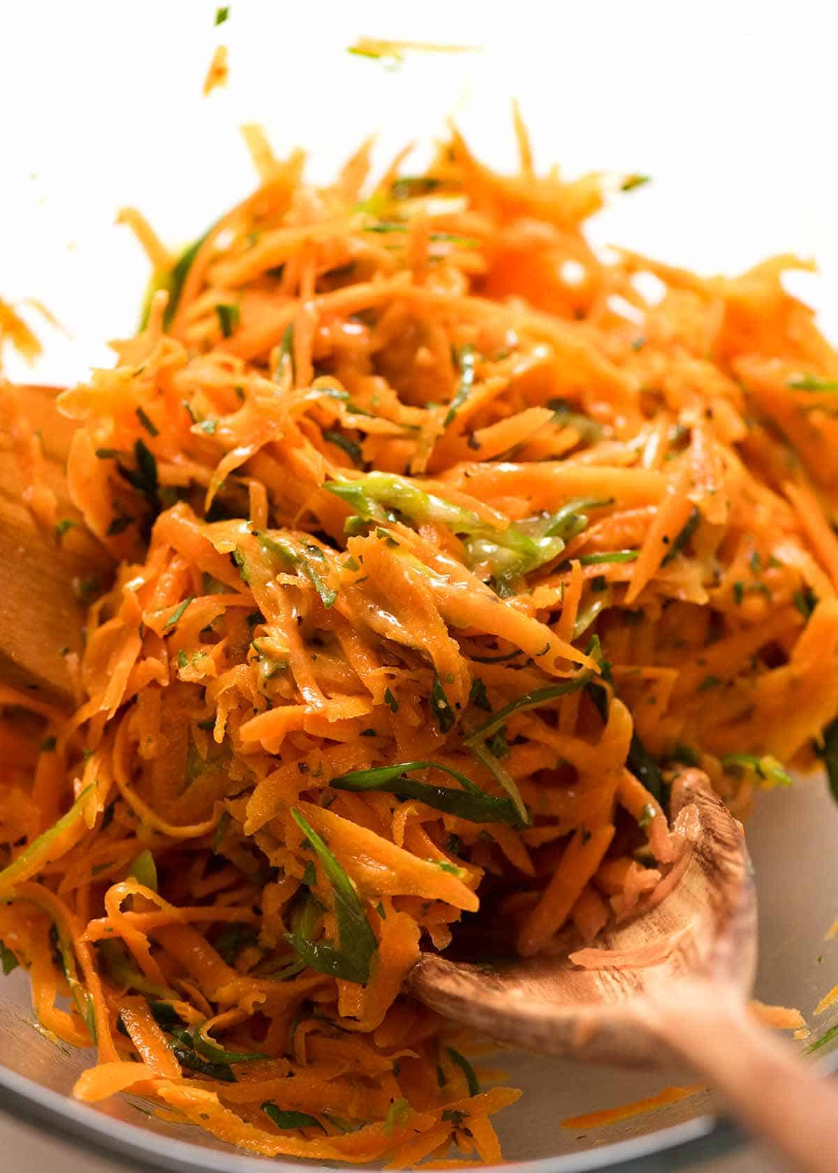 Close up of Carrot Salad with Honey Dijon Mustard Dressing