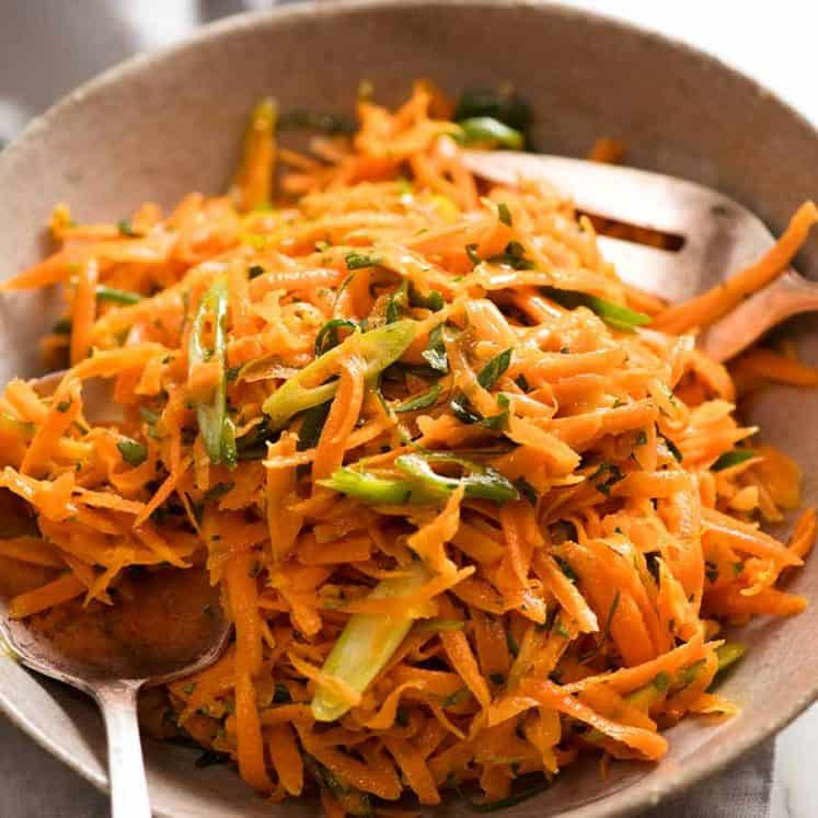 Bowl of Carrot Salad ready to be served
