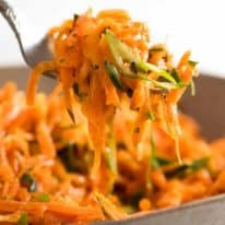 Close up of forkful of Carrot Salad