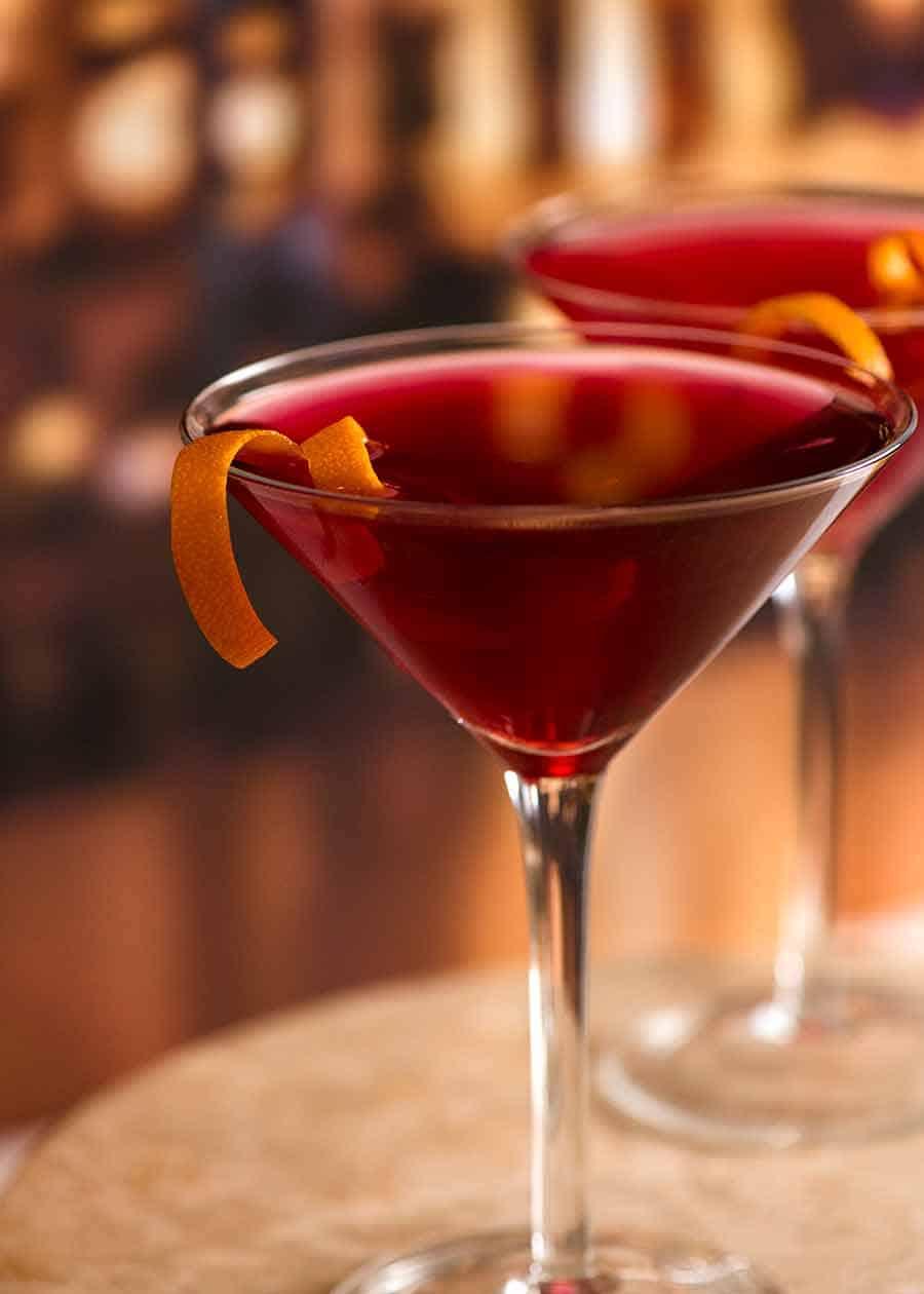 Cosmopolitan cocktail in a bar