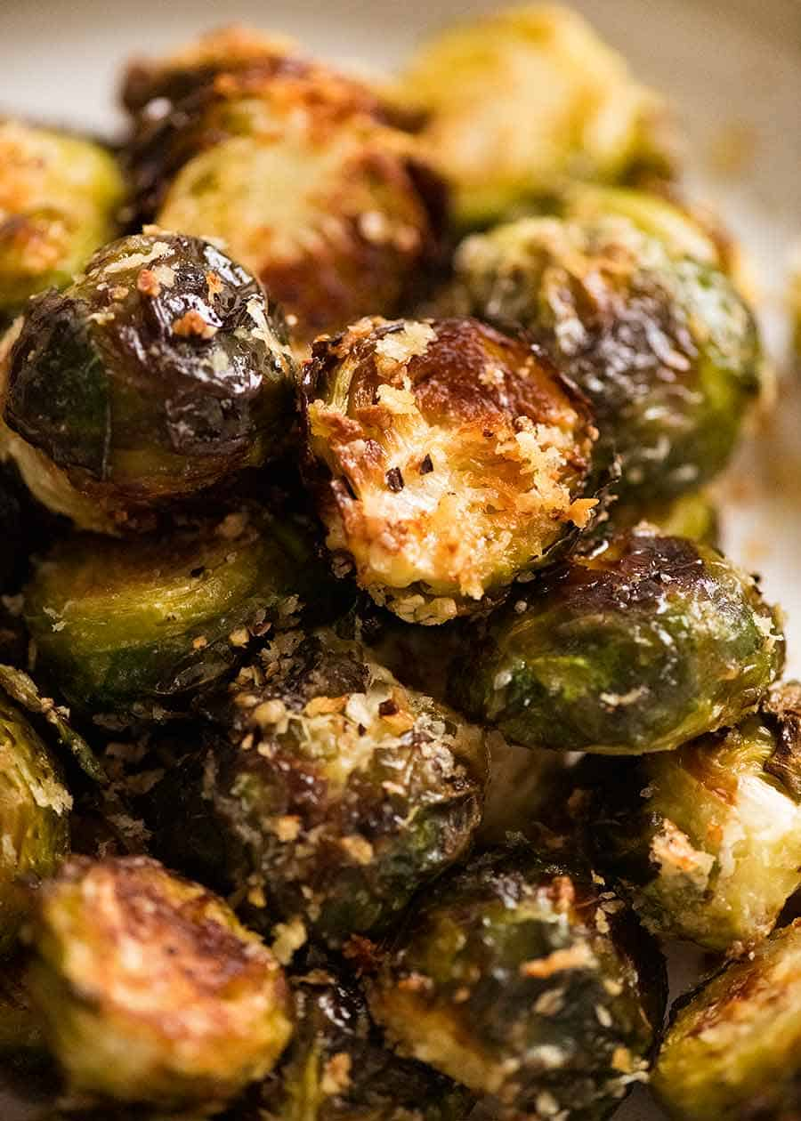 Crispy Parmesan Roasted Brussels Sprouts Addictive Recipetin Eats