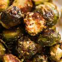 Close up of CRISPY Parmesan Garlic Roasted Brussels sprouts