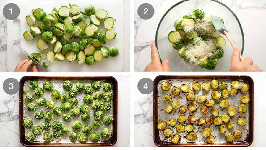 How to make CRISPY Parmesan Garlic Roasted Brussels sprouts