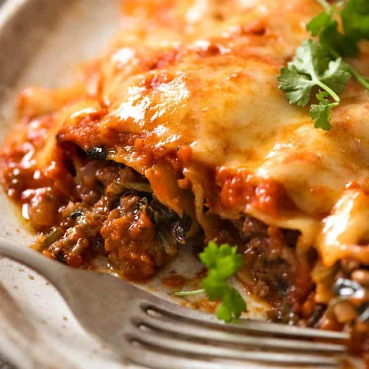 Close up of Spinach Beef Cannelloni on a plate, ready to be eaten