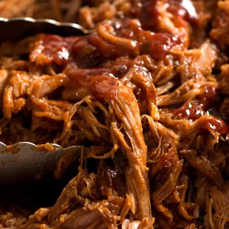 Close up of Pulled pork with BBQ Sauce