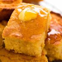 Close up of slice of cornbread