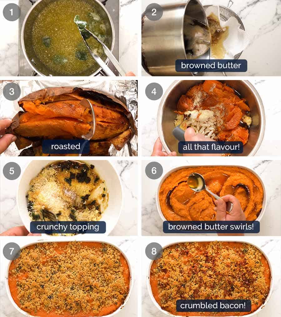How to make savoury browned butter Sweet Potato Casserole