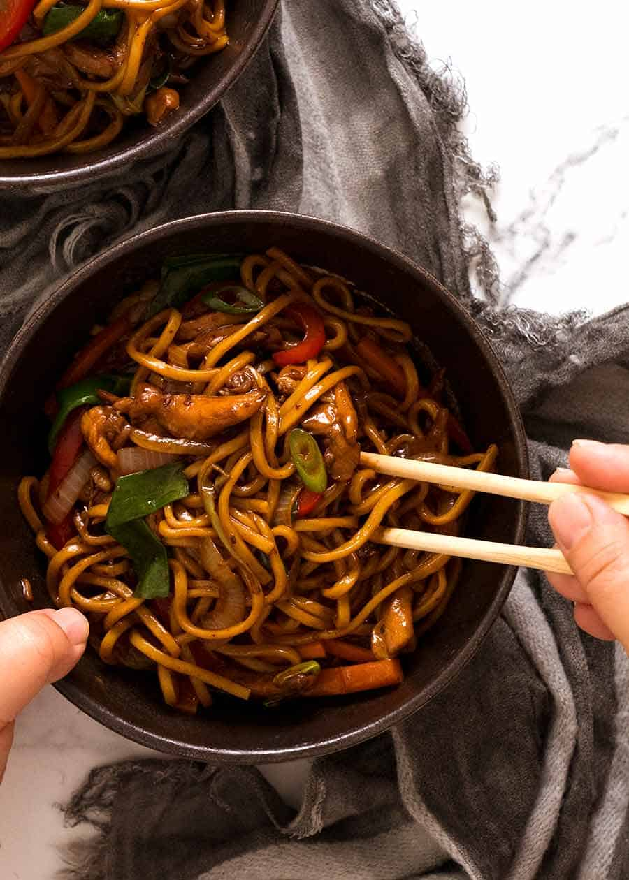 Chicken Lo Mein in a bowl, ready to be eaten