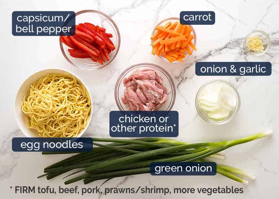 What goes in Chicken Lo Mein