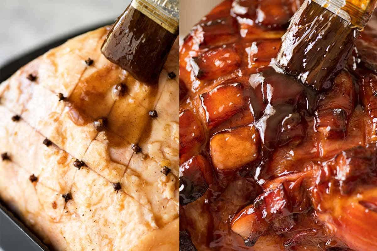 Glazed ham - brushing ham with glaze