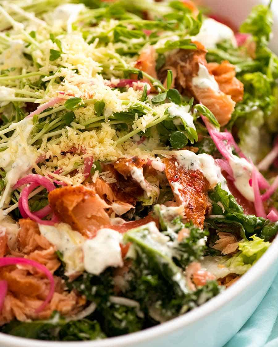 Close up of Celebration Salmon Salad (salad main dish with salmon)